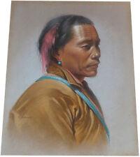 1955 rare DOUGLAS GORAY - Tibetan Hunter - ORIGINAL PASTEL PAINTING -Hill People