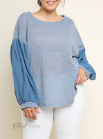 Umgee | Misty Blue Puff Sleeve Waffle Knit Scoop Hem Plus Size Top NWT XL 1X 2X