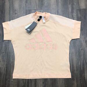 Adidas Women's Glam Tee Short Sleeve Peach Orange Size Large T-Shirt