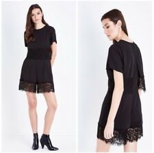 NEW Black Layered Lace Design Playsuit Short Sleeves RRP £24.99 BRAND NEW LOOK
