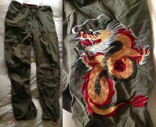 ABERCROMBIE & FITCH A&F DRAGON Patch CARGO PANTS Adjustable Khaki Orange RARE XS