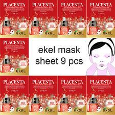 EKEL Placenta Face Mask Pack Sheet Moisture Essence Facial Skin Care 9p Unisex