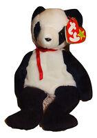 Beanie Baby Fortune Panda Bear TY White & Black PE Pellets 1997 Mint TH