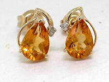 Citrin Ohrstecker 585 Gelbgold 14Kt Gold natürliche Citrine und Brillanten