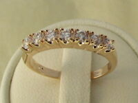 18CT yellow gold white sapphire / Diamond Engagement / Wedding / Eternity Ring