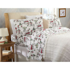 King Size Cotton Flannel Sheet Set Winter Theme Snowman Christmas Tree Bedding