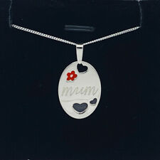 925 Sterling Silver Mum Necklace Flower Hearts Gift Present Cute Solid Silver