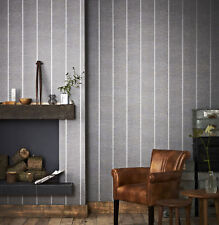Superfresco Easy Prairie Paste The Wall Charcoal Stripe Textured Wallpaper (Was