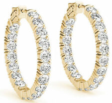 Hoop Earring 32 x 0.30 ct 1 inch 9.62 carat Round cut Diamond 14k Yellow Gold