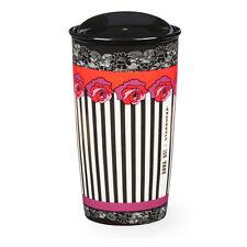 Anna Sui Starbucks Rose Stripe Double Wall Traveler Exclusive Black Tumbler Mug