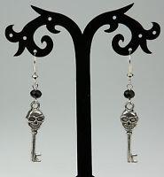 Gothic Tibetan silver skull key drop earrings, silver hooks, black crystals