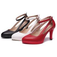 Women Ladies Pointed Toe High Heel Stilettos Hollow Pumps Ankle Strap Dress Work