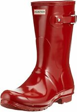 Hunter Original Short Gloss Ladies Militay red Boots 5