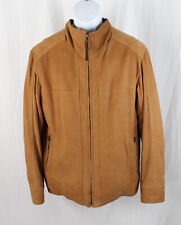 Lone Pine Men's Tan Brown Nubuck Leather Zip Front Outerwear Jacket Size 40
