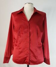Lane Bryant Satin Top Sz 14/16 Long Sleeve Button Front Fitted Stretch Red
