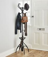 Vintage Style Black Metal Hat Coat Stand Umbrella Hook Rack