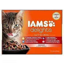 Iams Delights Cat Wet Land & Sea Collection in Gravy 12 Pack - 85g - 216213