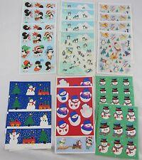 Vintage Hallmark Christmas Stickers Lot 20+ Sheets: Snowmen, Penguins, Bears, +
