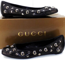 GUCCI Horse Nero Studded Squared Toe Ballet Flats Women's 37 1/2 US Size 7 / 7.5