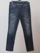 Benetton - Jeans donna taglia 30, colore blu jeans con decorazioni a tagli finti