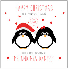 Personalised Our First Christmas Together Penguins Card Husband Wife Mr & Mrs