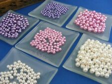 Pearlised Glass Beads Faux Pearl Lustre 100 Purple Pink Cream Black  4mm 6mm
