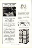 Advertising Railroad Land Cruises to California - Oshkosh Trunks Wisconsin 1926