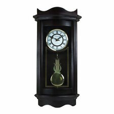 """BEDFORD 25""""WEATHERED CHOCOLATE CHERRY GRANDFATHER WALL CLOCK with PENDULUM&CHIME"""