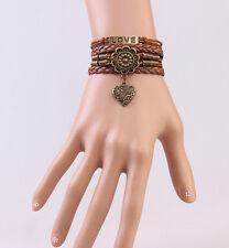 Infinity LOVE JT61 Heart Antique Flower Friendship Copper Leather Bracelet