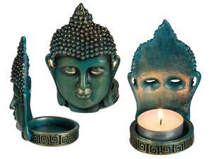 Ensemble de Deux Bouddha Thaï Debout Porte-Bougie Bougeoirs