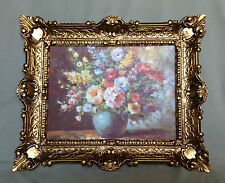 Painting Flowers in Vase Blue Mural 57x47 Flowers Picture With Frame Gold 04