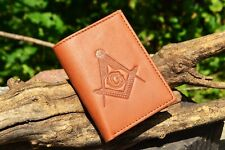 Masonic Tan Leather Tri-Fold Wallet - RFID Protected - Square and Compasses