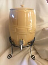 Longaberger Beverage Barrel Dispenser Butternut Pottery & Wrought Iron Stand