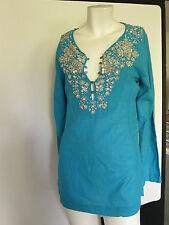 SALE NOLITA Designer Blue Beaded/ Embroidery Embellished Kaftan Blouse Top Sz: S