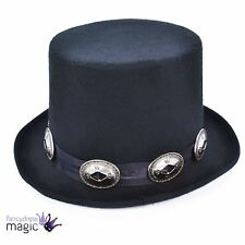 80s Slash Rocker Victorian Steampunk Black Buckles Fancy Dress Musician Top Hat