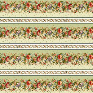 Green Border Stripe Belle Epoque by Maywood BTY 9873-G fabric