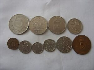 LOT OF 10 SWEDEN COINS  1 ORE - 5 KRONE 1964-2004