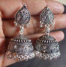 Antique Silver Plated 2 cm Diameter Medium Jhumkas Indian Wedding Earrings dd