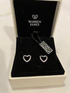 warren james swarovski Heart Earrings