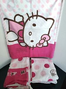 Lot Of 2 ~ Hello Kitty Pink Polka Dot (2 Flats, 2 Fitted Sheets & 2 Pillowcases)