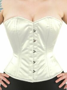 """GUC! 411-OVERBUST Authentic Ivory Satin 34"""" Corset Double Steel Boned"""
