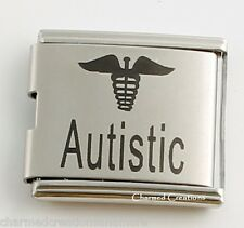 Autistic Autism Awareness Caduceus Medical Alert 9mm Italian Charm Mega Link