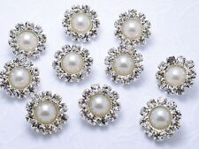 10 Sparkling 12mm Glass Rhinestone Ivory Pearl Silver Metal Shank Buttons N008