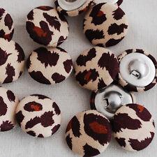 10 tissu boutons recouverts marron imprimé léopard - 2cm