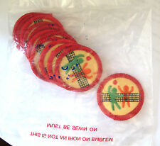 12 GROUP SPORTS Girl Scout Worlds to Explore Badges 1980-1991 NEW in 1 DOZ. PKG.