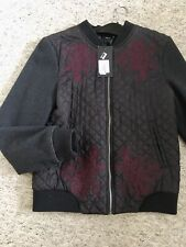 Republic Black Maroon New Quilted Diamond Bomber Jacket Embroidered Wool Coat
