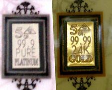 ACB 24k Gold & Pure Platinum 5GRAIN Bullion Bars Certificate Authenticitiy <