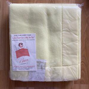 Vintage Beacon Pastel Yellow Baby Blanket w Satin Trim - 100% Orlon 36 X 50 in