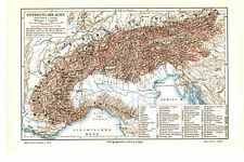 Antique map. MAP OF ALPS. c 1905