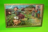 Vintage Halloween Postcard Embossed Man In Kilt & Pig 2171 Gottschalk Original